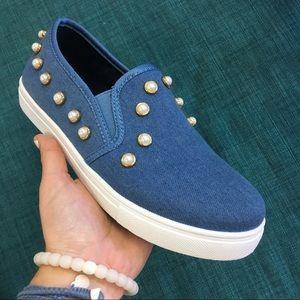 Blue denim pearl studded slip on